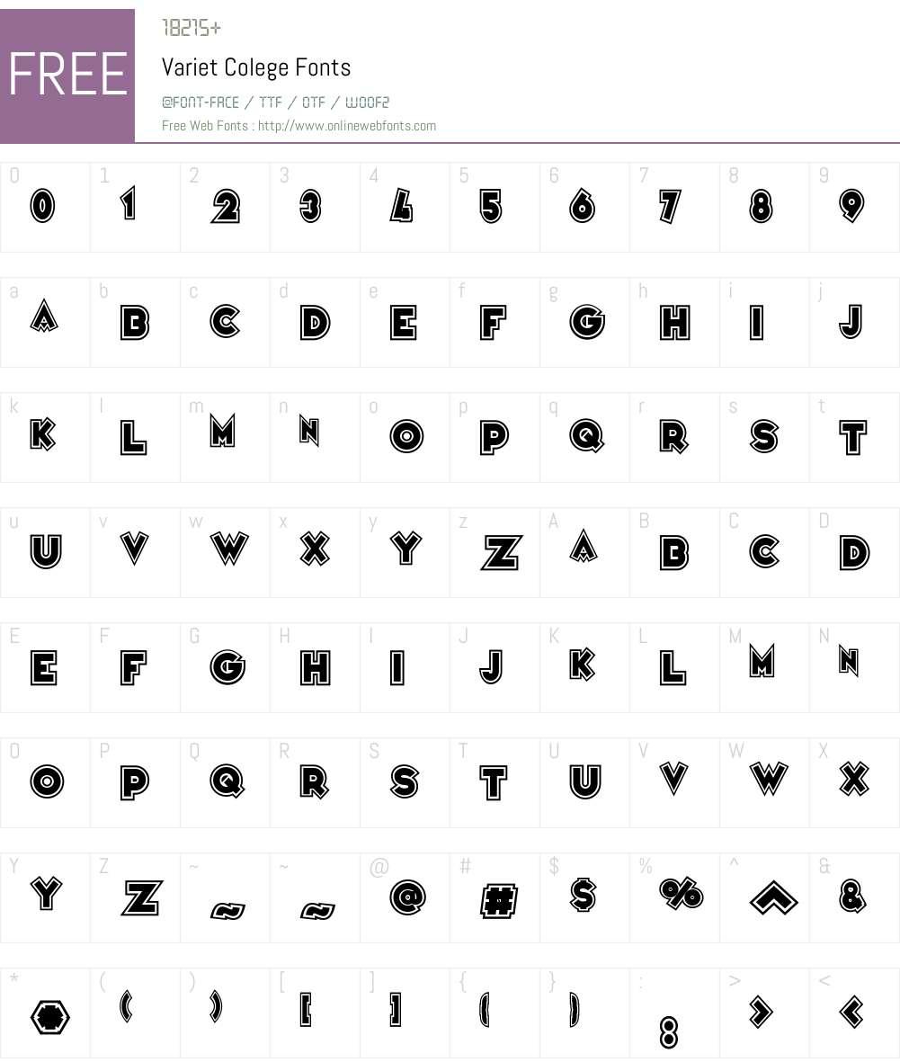 Variet Colege Font Screenshots
