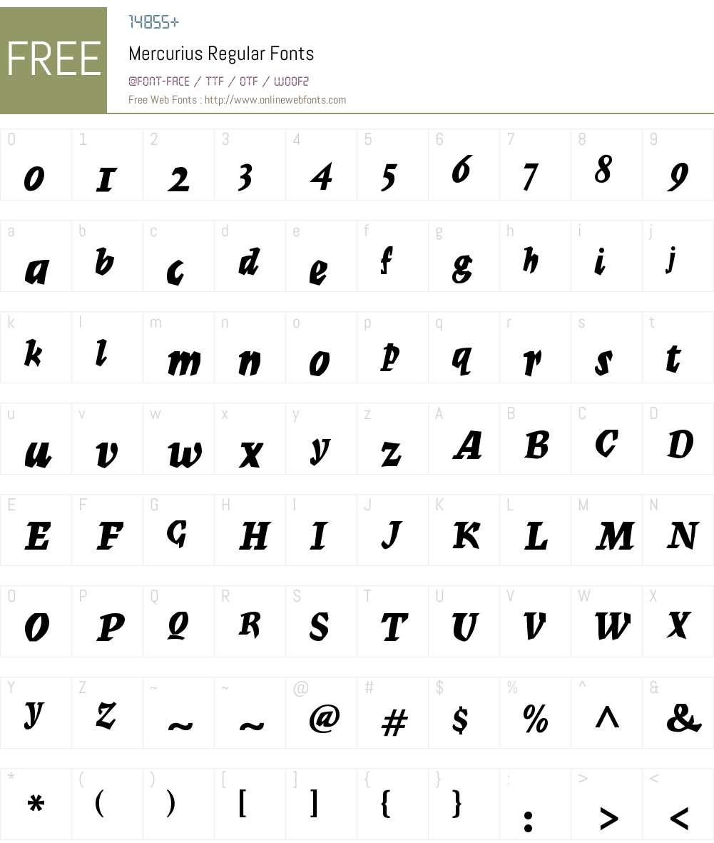 Mercurius Font Screenshots
