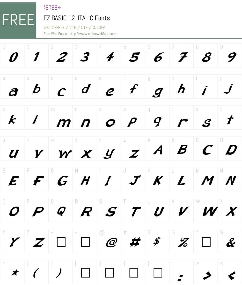 FZ BASIC 12  ITALIC Font Screenshots