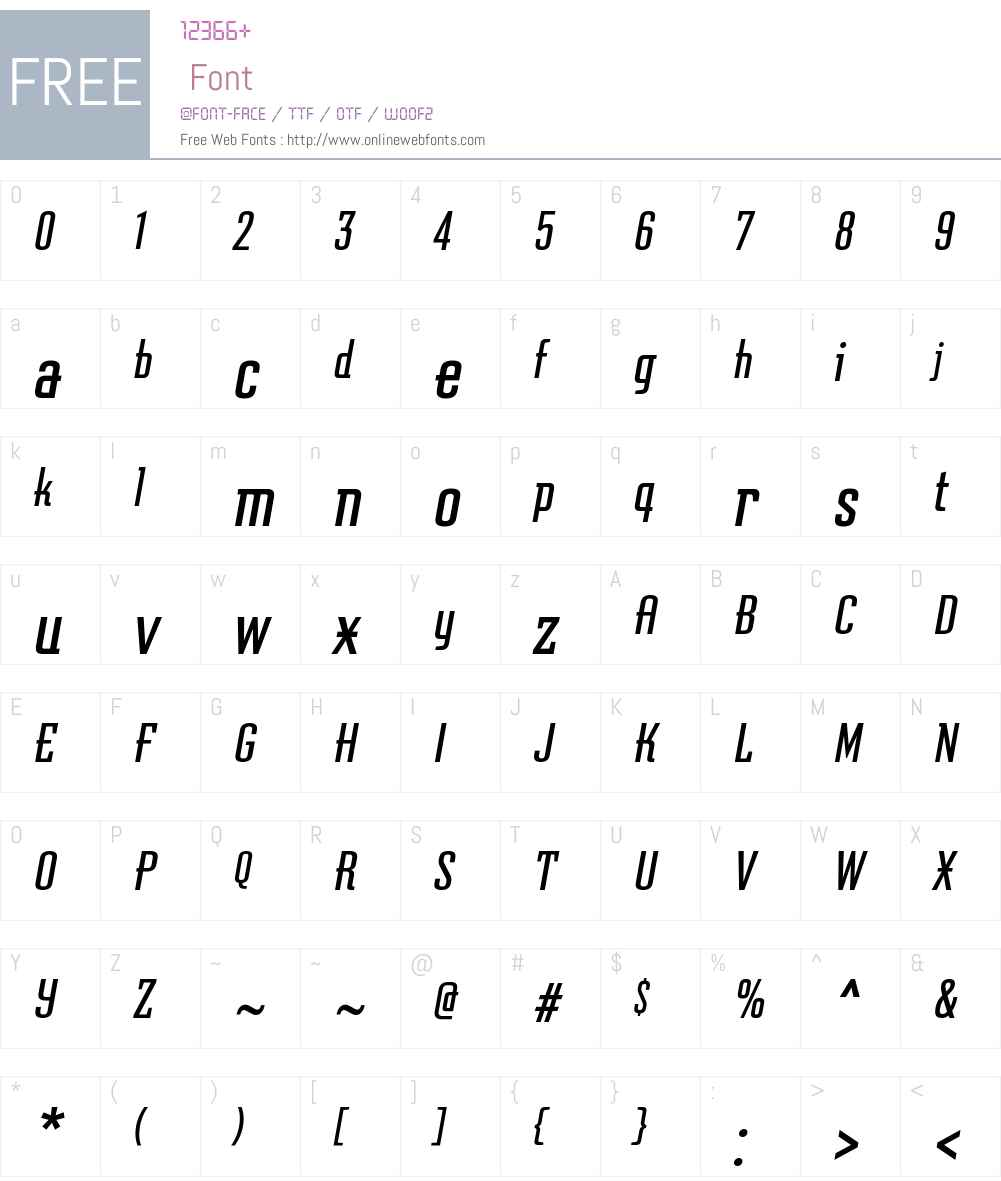 GraficzOTW00-Oblique Font Screenshots