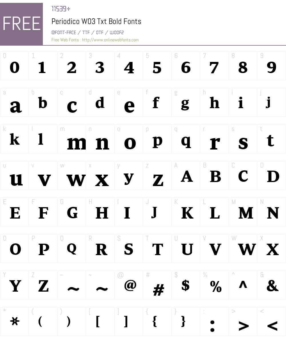 PeriodicoW03-TxtBold Font Screenshots