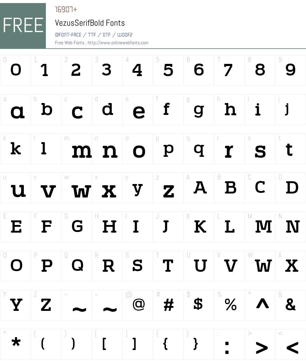 VezusSerifBold Font Screenshots
