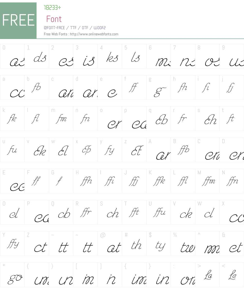 ChicHandLigaturesW00-BdSlanted Font Screenshots