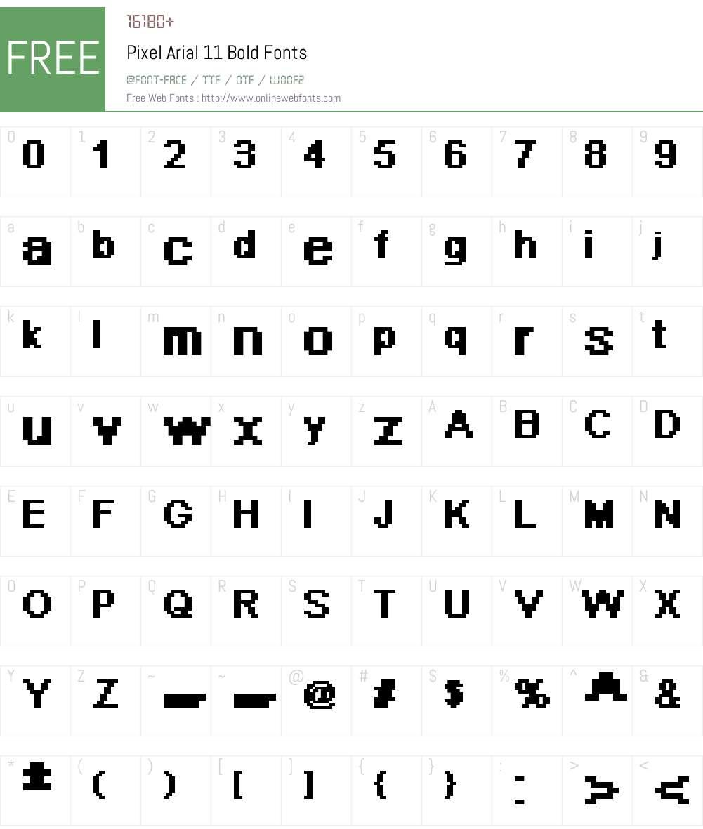 Pixel Arial 11 Font Screenshots