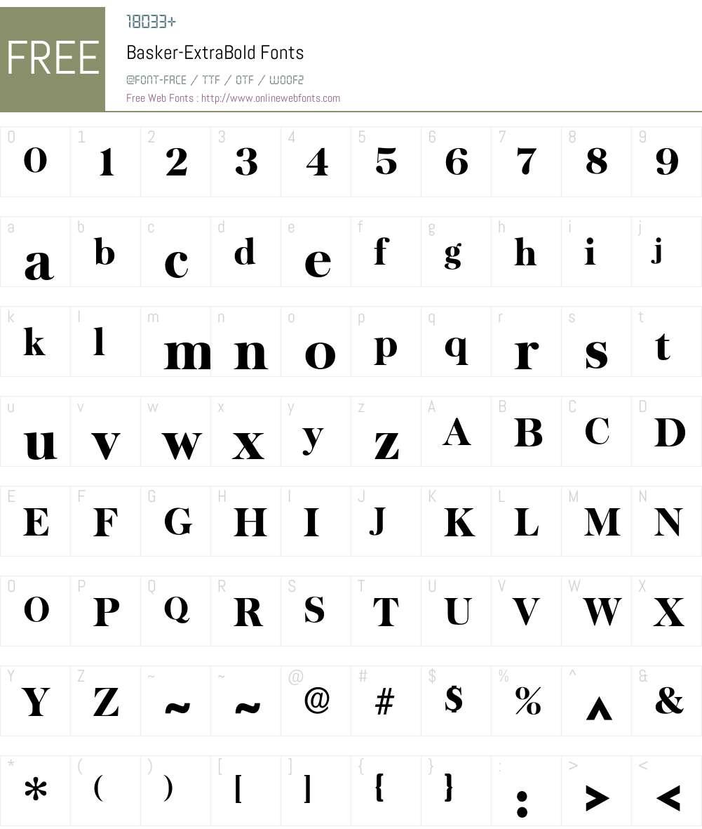 Basker-ExtraBold Font Screenshots