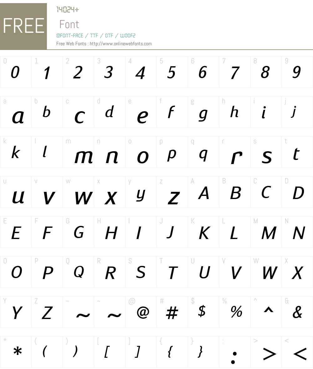 SusanSansW01-BookItalic Font Screenshots
