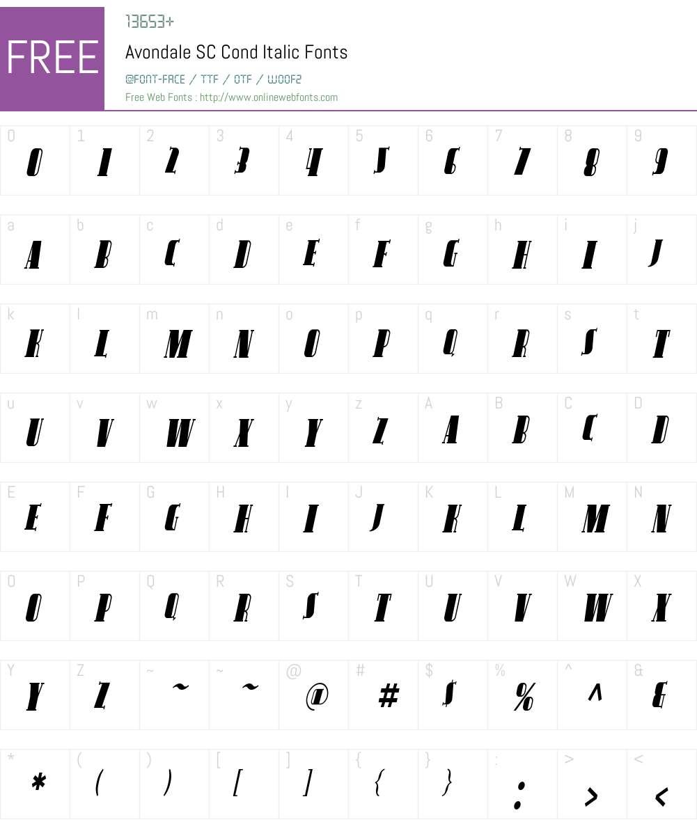 Avondale SC Cond Font Screenshots