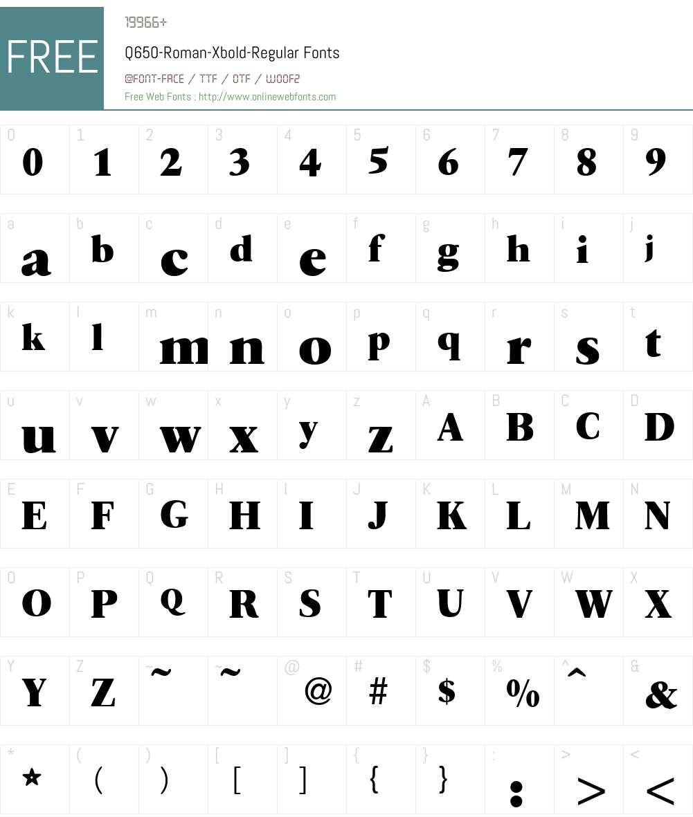 Q650-Roman-Xbold Font Screenshots