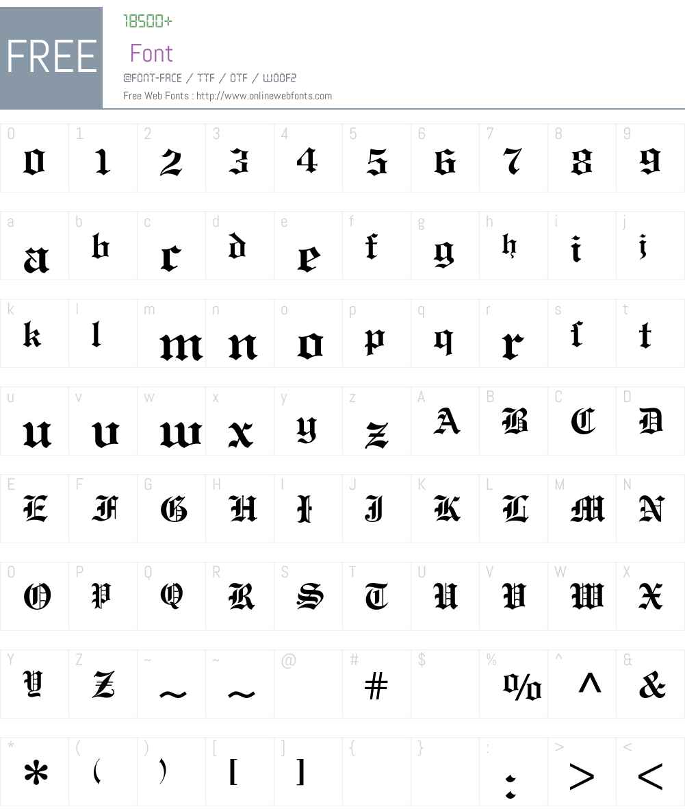 Engravers Old English BQ Font Screenshots