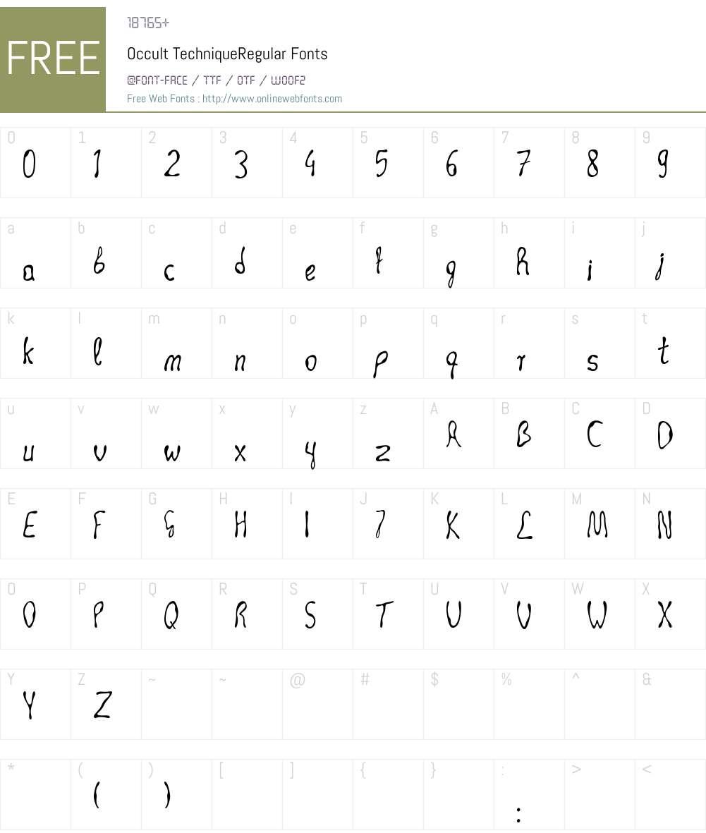 Occult Technique Font Screenshots