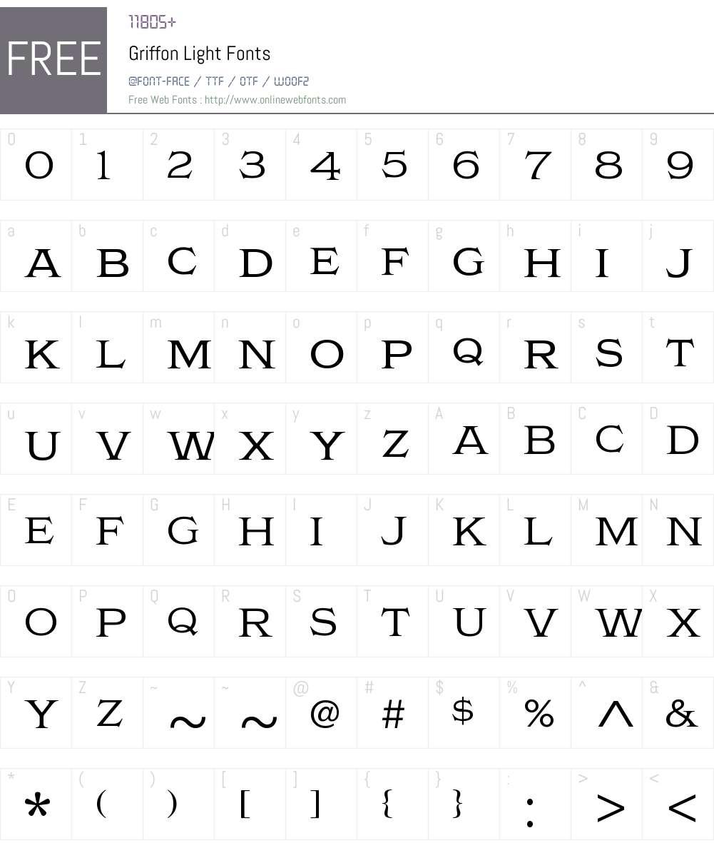 Griffon Light Font Screenshots
