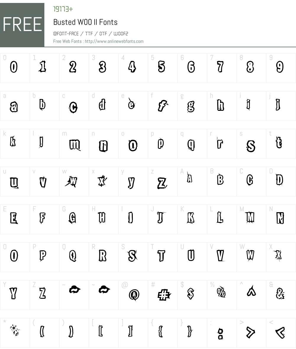 BustedW00-II Font Screenshots