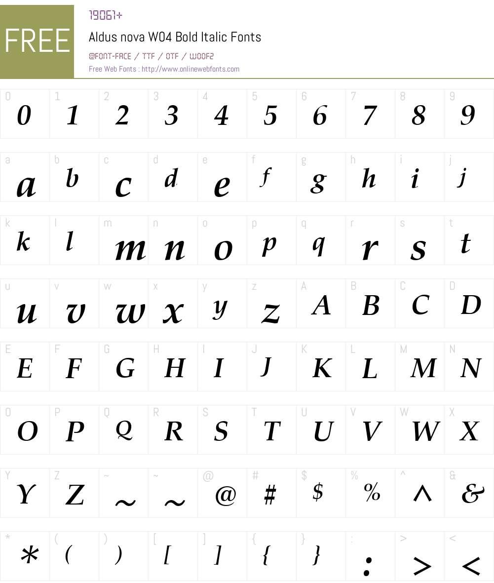 AldusnovaW04-BoldItalic Font Screenshots
