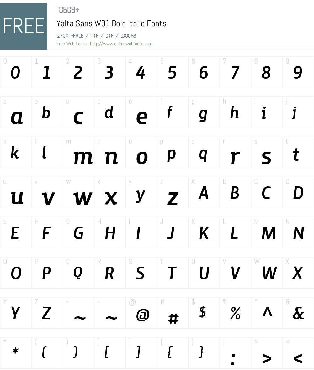 YaltaSansW01-BoldItalic Font Screenshots
