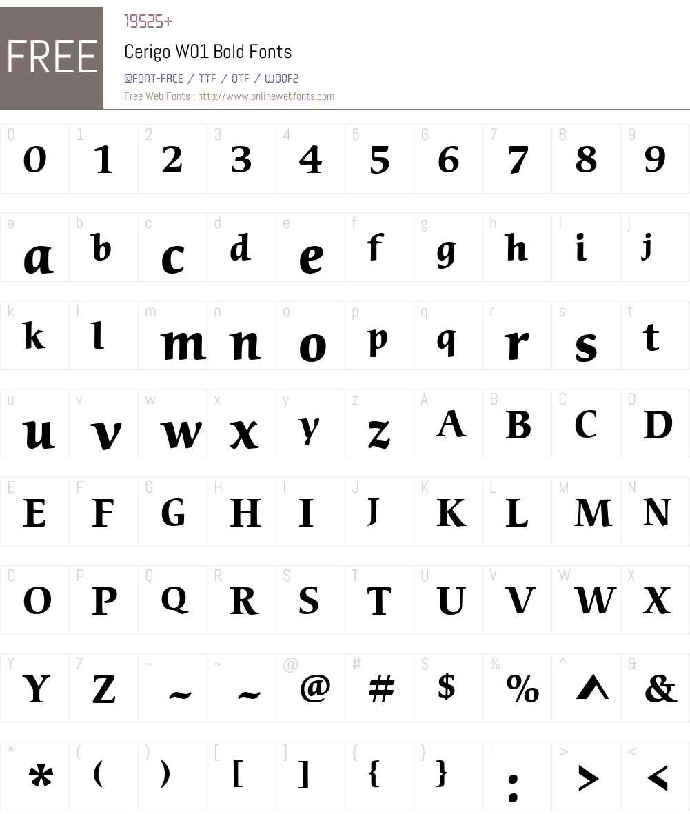 CerigoW01-Bold Font Screenshots