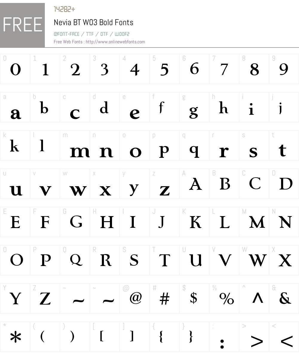 Nevia BT Font Screenshots