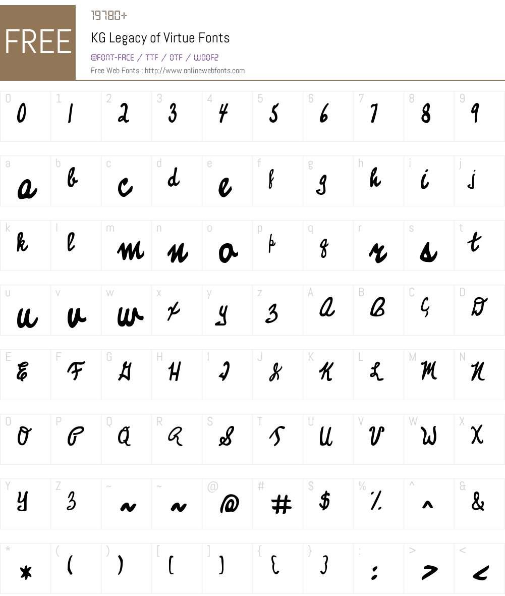 KG Legacy of Virtue Font Screenshots