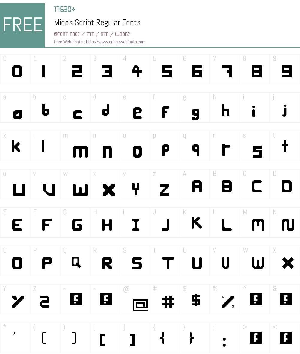 Midas Script Font Screenshots