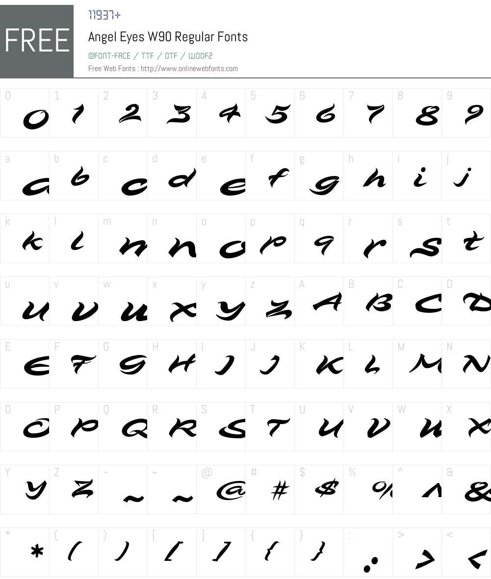 AngelEyesW90-Regular Font Screenshots