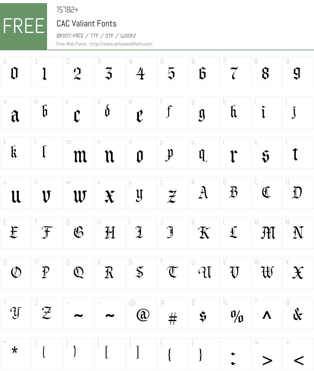 CAC Valiant Font Screenshots