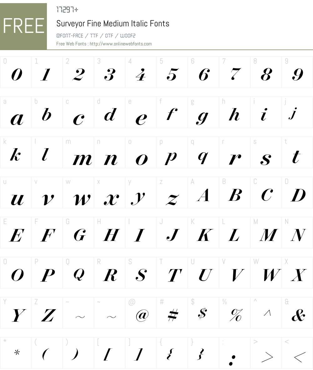 Surveyor Fine Medium Font Screenshots