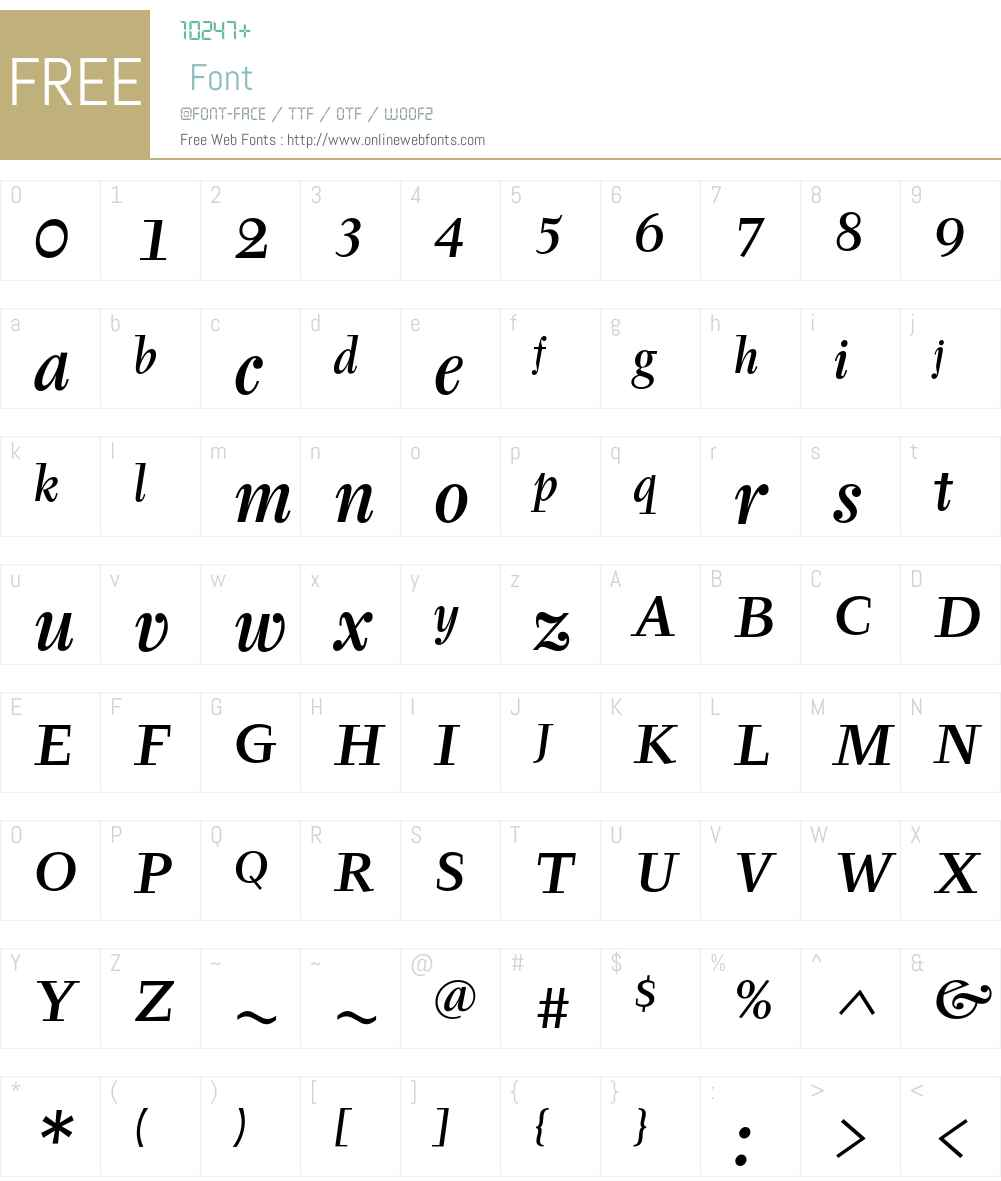 Tyfa ITC Std Font Screenshots