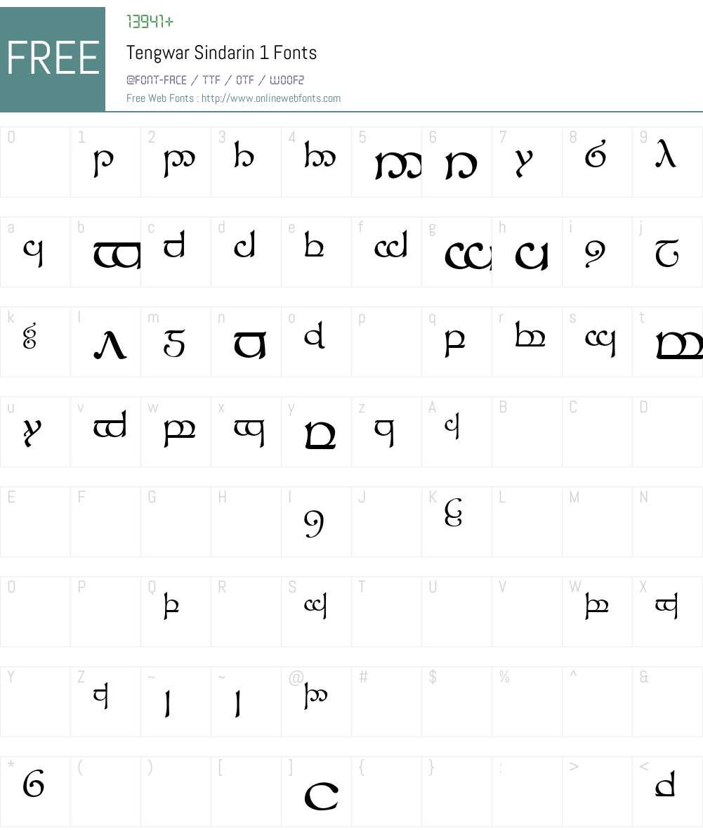 Tengwar Sindarin-1 Font Screenshots