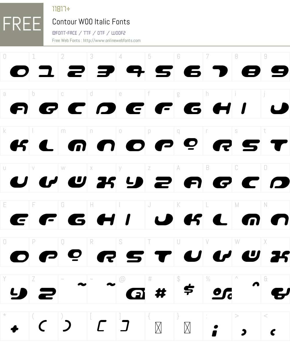 ContourW00-Italic Font Screenshots