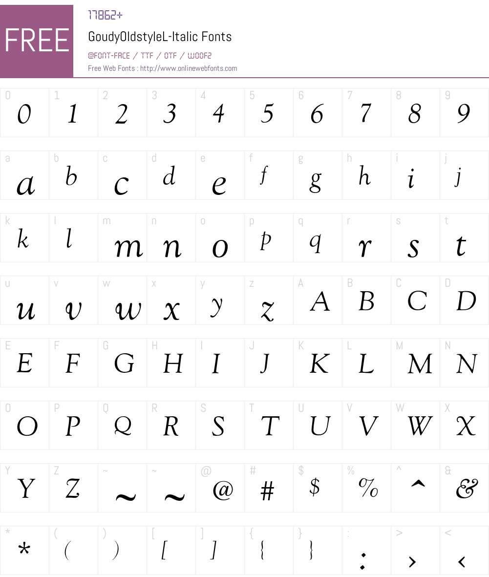 GoudyOldstyleL-Italic Font Screenshots