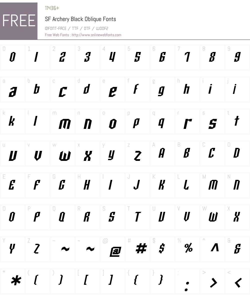 SF Archery Black Font Screenshots