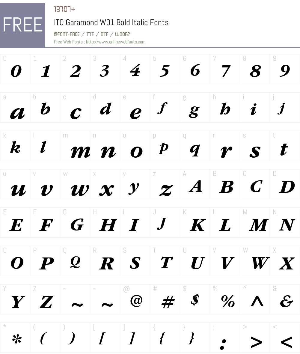 ITCGaramondW01-BoldItalic Font Screenshots