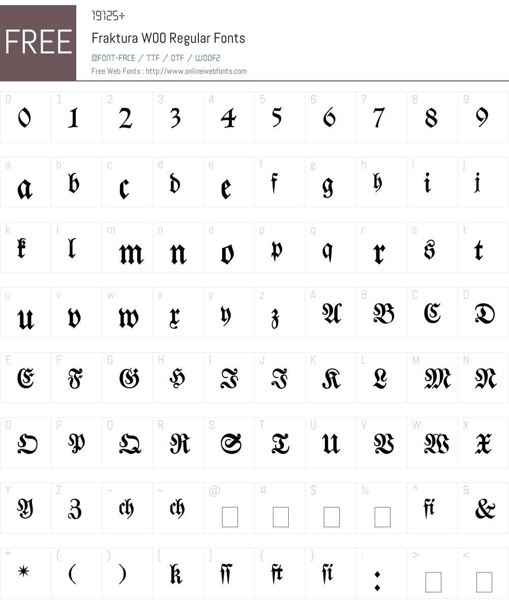 Fraktura Font Screenshots