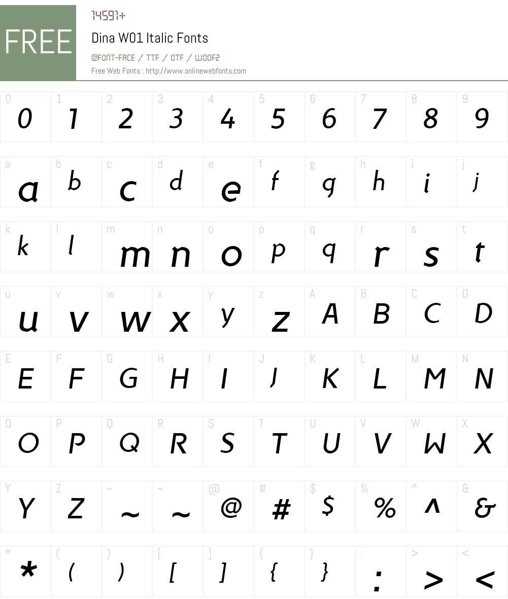 DinaW01-Italic Font Screenshots