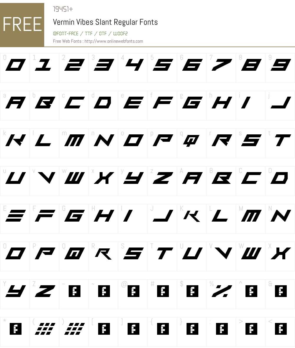 Vermin Vibes Slant Font Screenshots