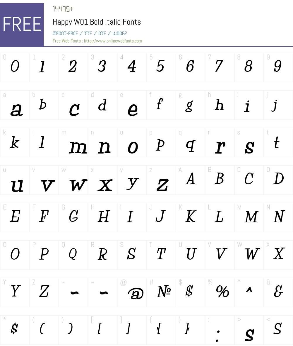 HappyW01-BoldItalic Font Screenshots