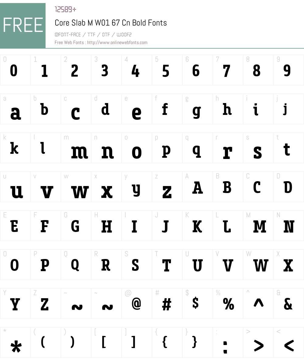 CoreSlabMW01-67CnBold Font Screenshots