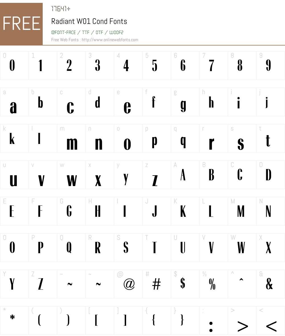 RadiantW01-Cond Font Screenshots
