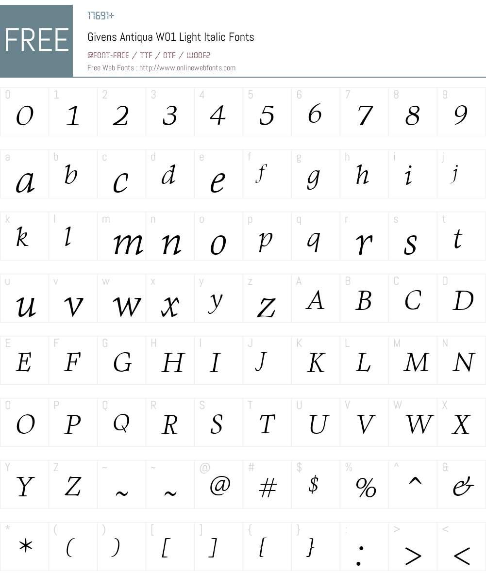 GivensAntiquaW01-LightIt Font Screenshots