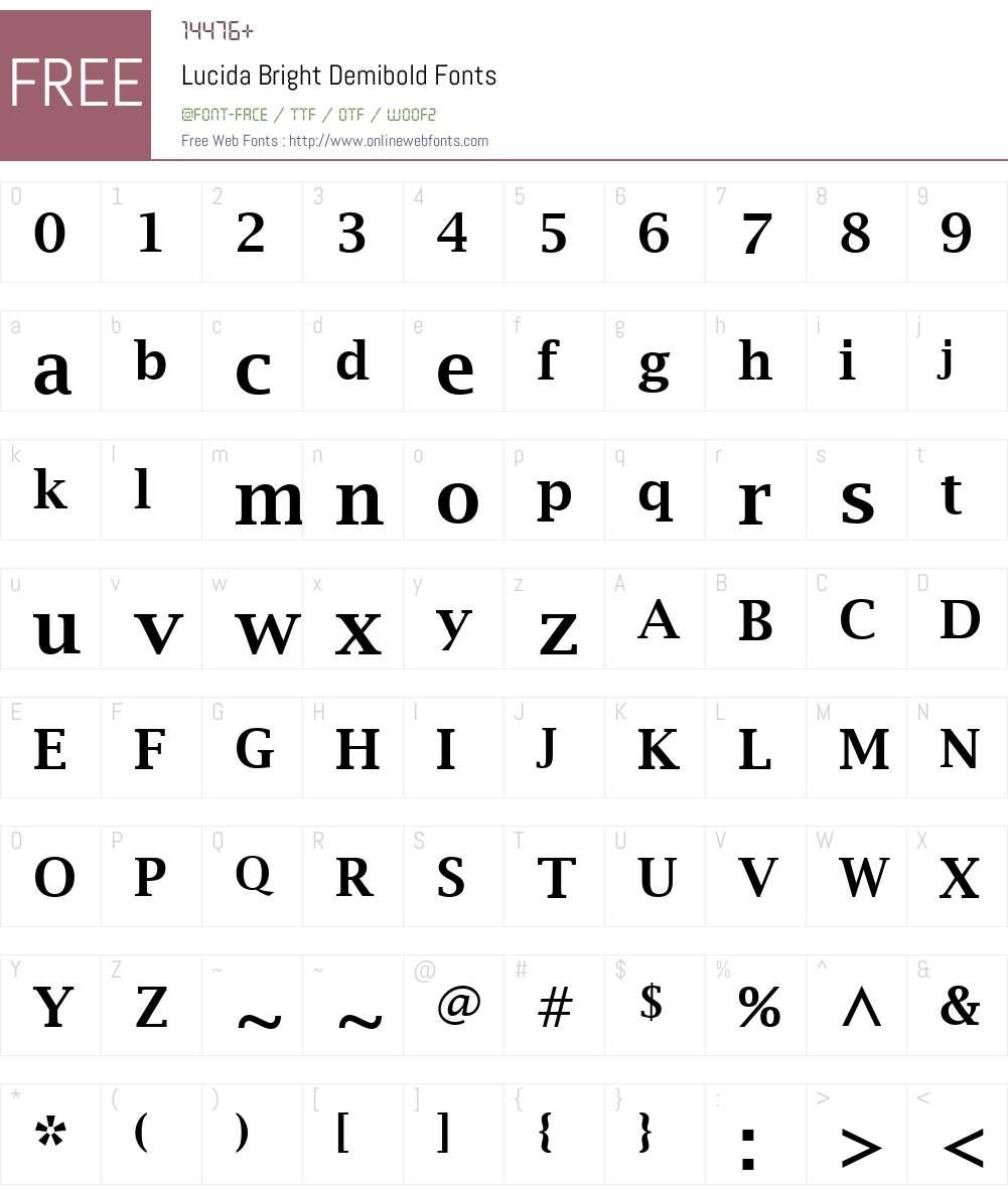 Lucida Bright Font Screenshots