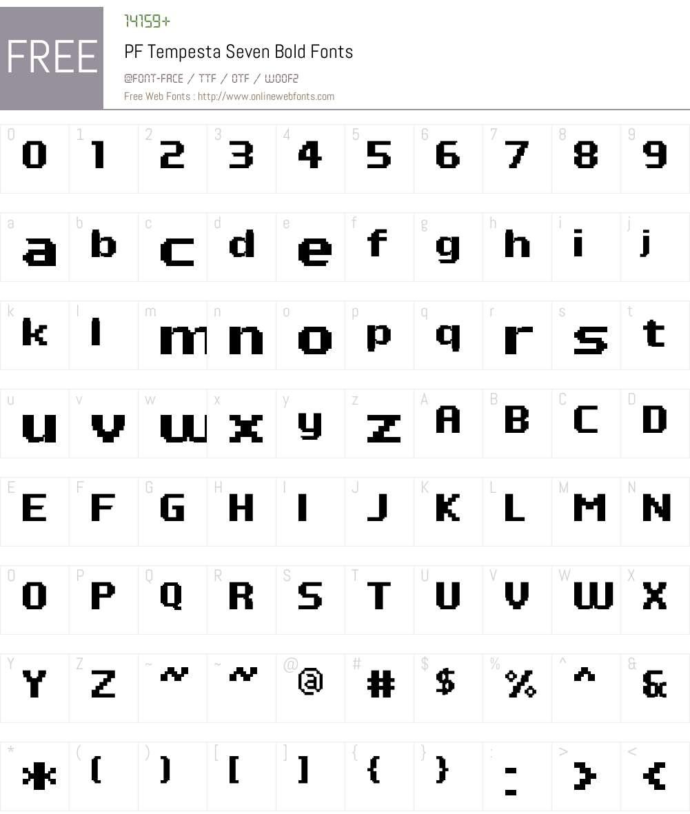 PF Tempesta Seven Font Screenshots
