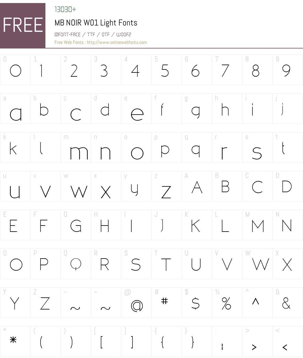 MBNOIRW01-Light Font Screenshots