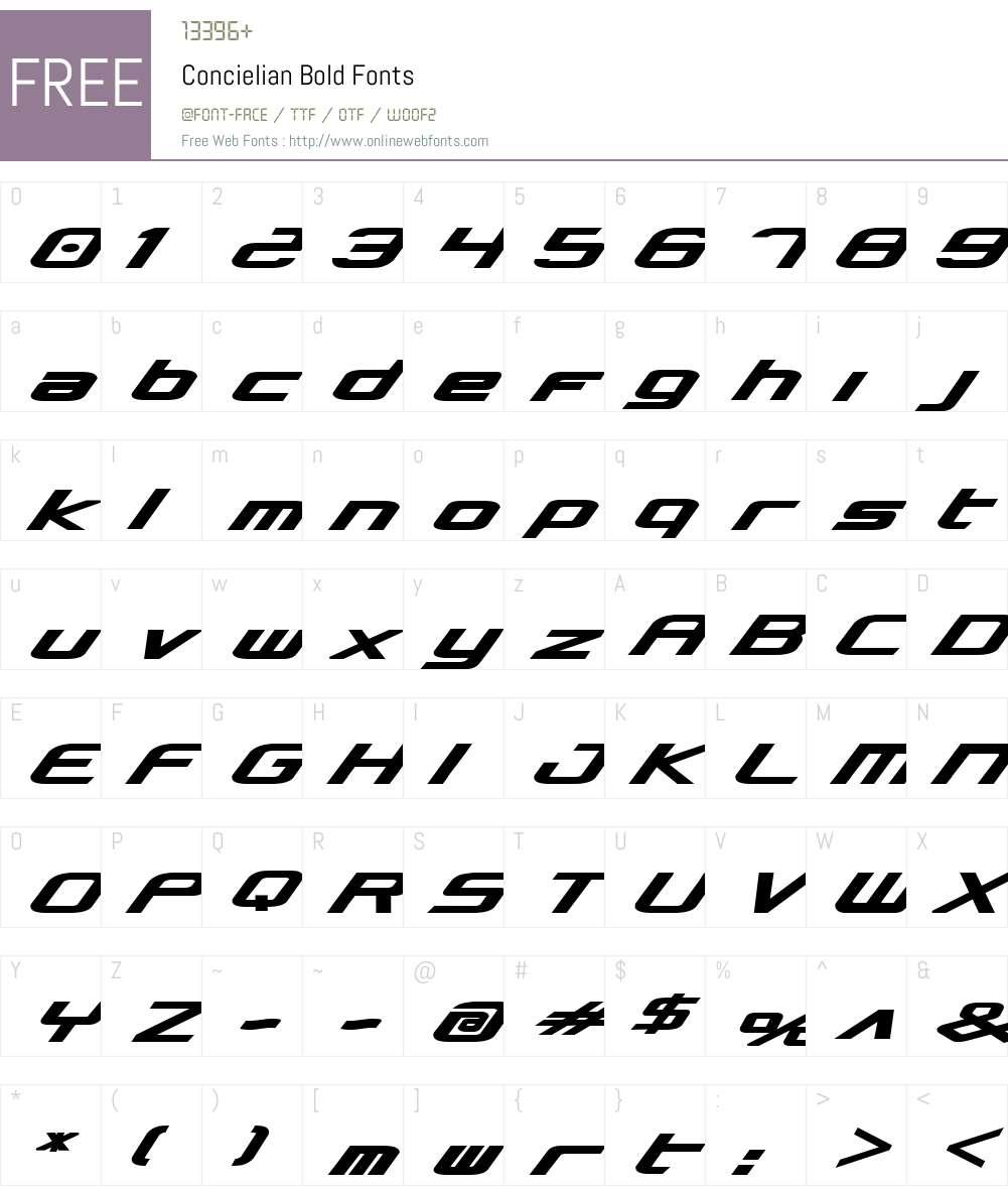 Concielian Bold Font Screenshots