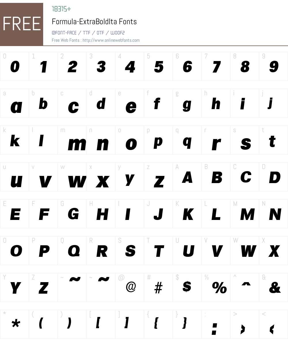 Formula-ExtraBoldIta Font Screenshots