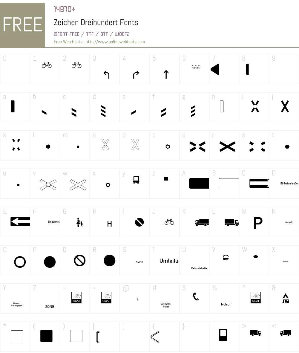 Zeichen Dreihundert Font Screenshots