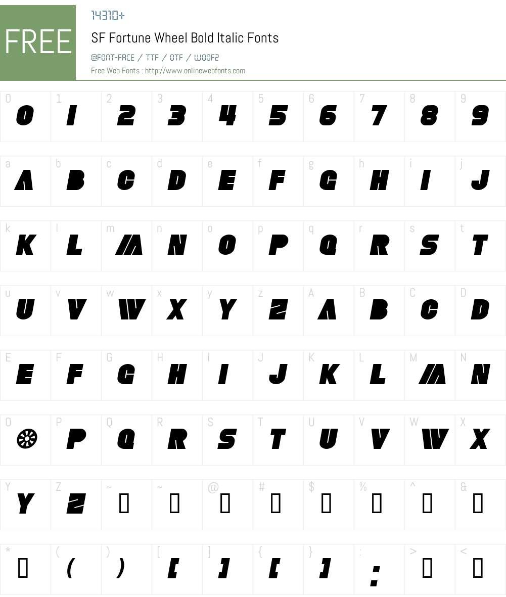 SF Fortune Wheel Font Screenshots