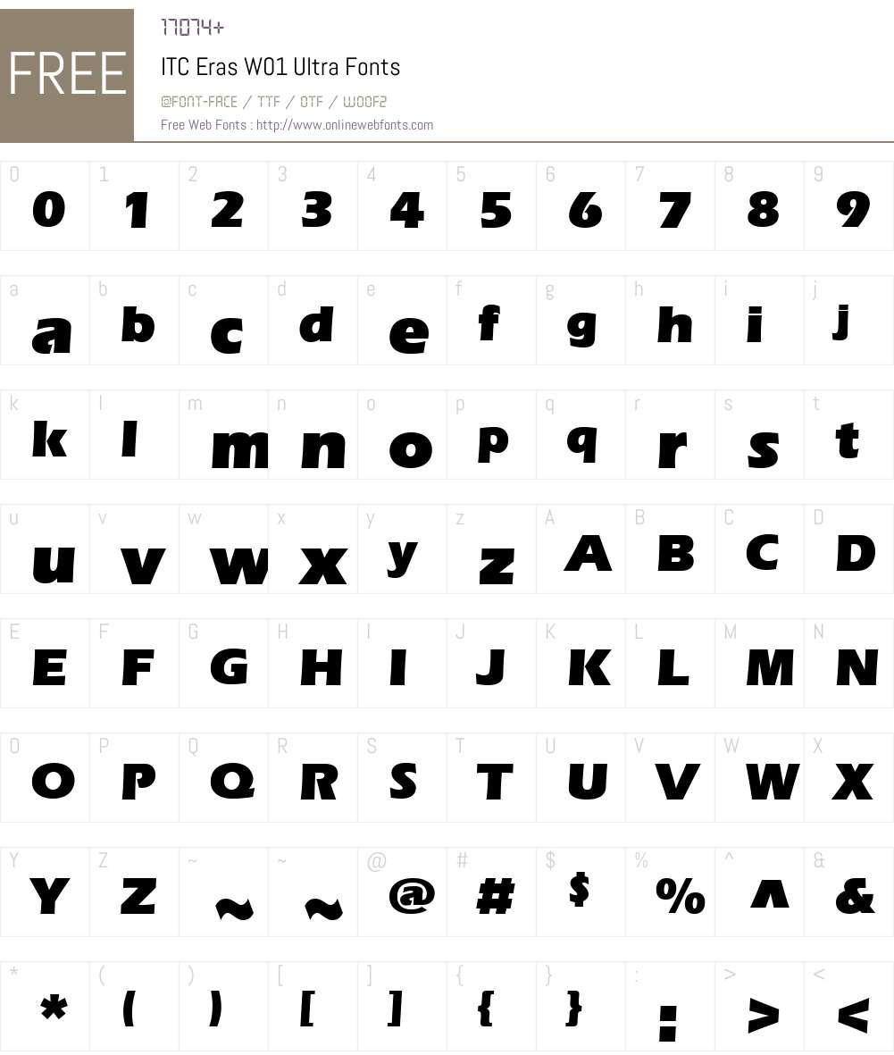 ITCErasW01-Ultra Font Screenshots