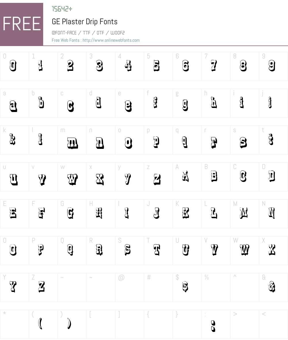 GE Plaster Drip Font Screenshots