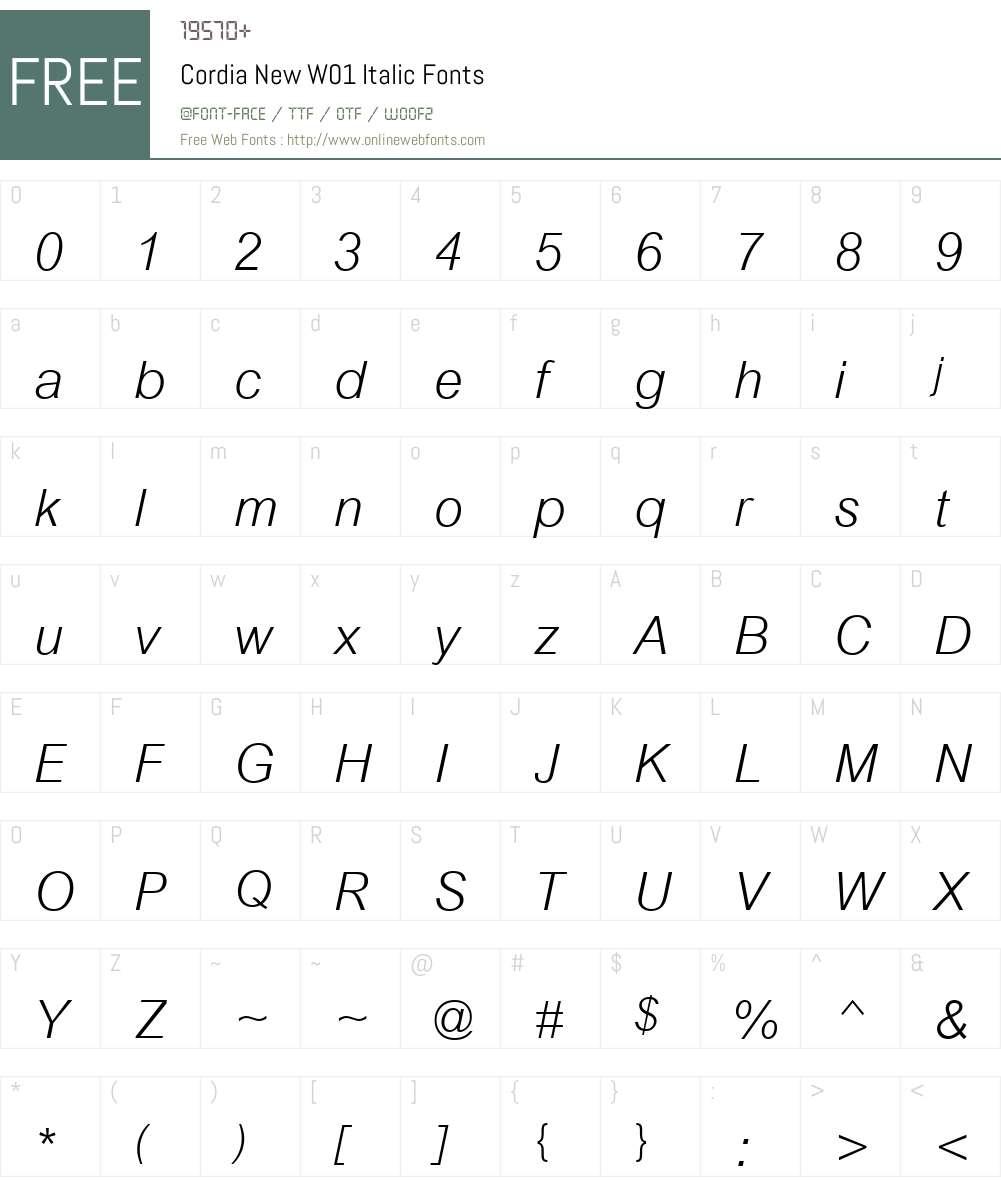CordiaNewW01-Italic Font Screenshots