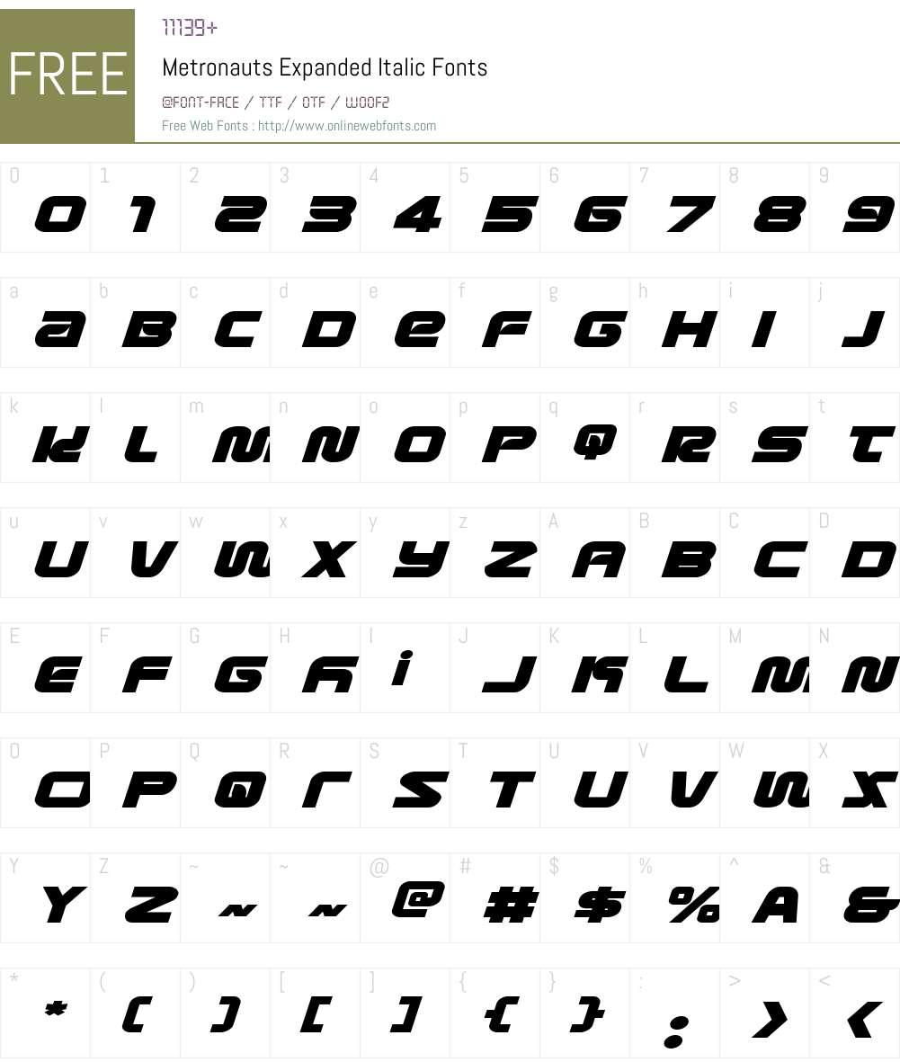 Metronauts Expanded Italic Font Screenshots