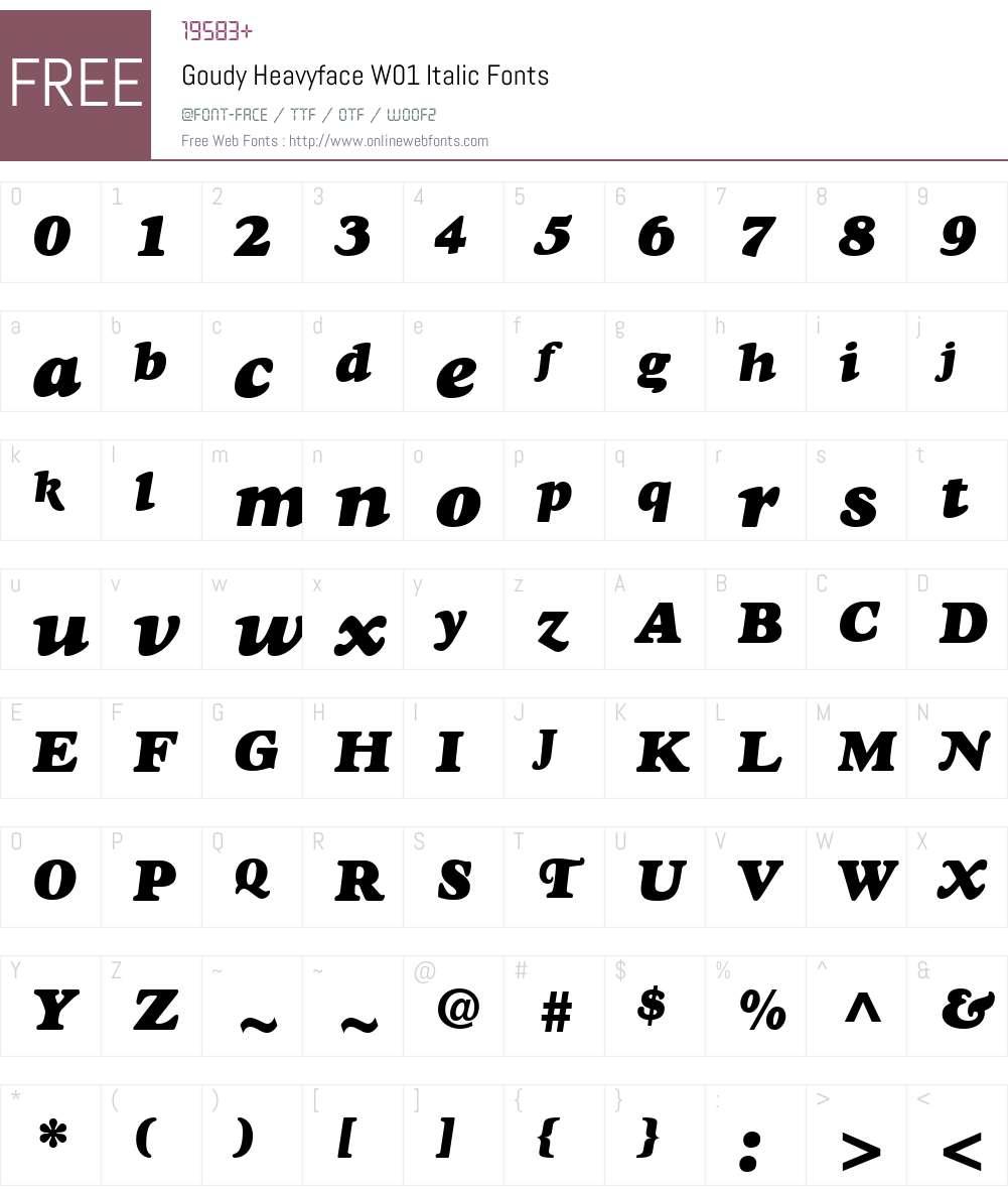 GoudyHeavyfaceW01-Italic Font Screenshots